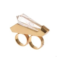 New Fashion Punk Style Big Geometric Simulated Gem Crystal Double Finger Rings For Women
