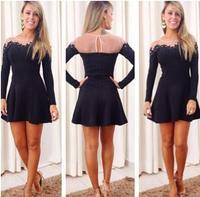 dress 2014 vestidos women dress openwork lace round neck plus size casual dress vestidos femininos winter dress