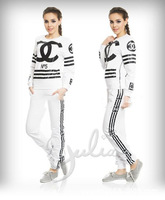 Lacegirl's  women new fashion 2014 2pcs sportwear suit No 5 letter print  Female harajuku top hoody Sweatshirts tracksuit s m l