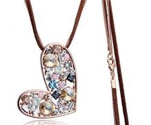 Bijou crystal heart colgante long necklace luxury fashion necklaces women jewelry jewellery colares bijuterias bisuteria collier