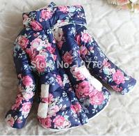 Children Baby Parkas Winter Thick Fleece Wadded Coat Outerwear Flower Print Warm Winter Jacket For Girls Kids Jackets ZZ2050