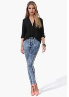 New Spring and Summer Hot Fashion Three Quarter Sleeve V-neck Blouse Casual Trendy European Style Female Chiffon Shirt Y398