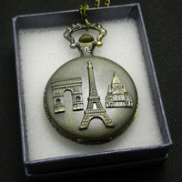 Triumphal Arch Arc de Triomphe Paris Eiffel Tower Pantheon Steampunk Pocket Watch P86 with Box