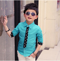 aoth100 new 2014 long sleeve boys polo shirts 2-7 age blue / white children blouse free shipping 5pcs/ lot