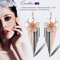 YTEH33 Fashion Designer 18K Real Gold Plated  Flower Tassel Earrings Symmetry Alloy Crystal Stone Drop Dangle Earrings For Women