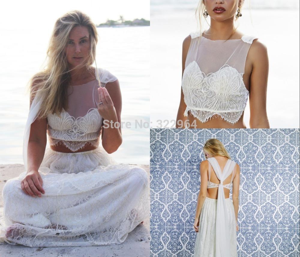 Romantic 2 piece wedding dress jewel a line lace floor for Wedding two piece dress