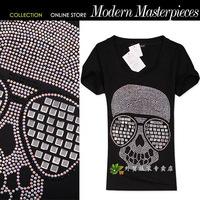 2014 hiphop glasses multicolour skull rhinestones high temperature o-neck short-sleeve T-shirt female
