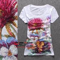 2014 short-sleeve silk cotton safetying slim short-sleeve T-shirt