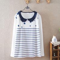 2014 fall autumn cotton long-sleeved girls ladies student peter pan collar striped t-shirt 585