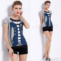 2014 street fashion personality cartoon lady slim women's short-sleeve o-neck t-shirt