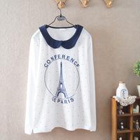 2014 autumn fall new women girls students cartoon paris cotton long-sleeved peter pan collar t-shirt 581