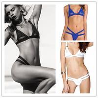 2014 Women's Hollow Out Mesh fabric Bikini brazilian biquini Swimsuit triangle Swimwear triangle swim trunks bandage bikinis set