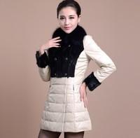 new 2014 100% Genuine leather sheepskin Fox fur collar down winter coat women female mink long parka clothing 6991