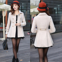 Real photo FREE shipping 2014 winter coat new Korean Women Slim and long woolen coat lady fashion beige jacket HM1697 S,M,L