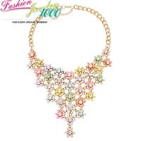 New Vintage Crystal Multi Flower Chain Pendant Collar Bib Necklace Fashion Statement Choker Charm Jewelry Women Party Engagement