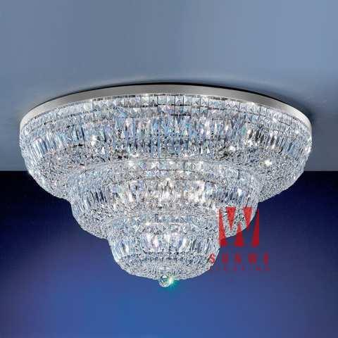 Chrome plated crystal flush mount ceiling lighting vintage ceiling lights K9142 91cm W x 51cm H(China (Mainland))
