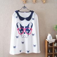 2104 fall autumn new student doll collar long-sleeved cotton girls women ladies t-shirt 586
