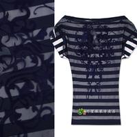 Fashion fashion personality gauze stripe short-sleeve T-shirt the back of perspectivity slit neckline summer basic shirt female
