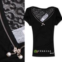 Fashion fashion avant-garde sexy gauze patchwork personality back V-neck zipper pearl short-sleeve T-shirt