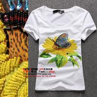 Fashion 2014 women's yellow sunflower butterfly rhinestones beaded slim short-sleeve T-shirt