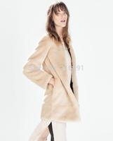 2014 new fashion Europe women winter vogue pure color long Fur coat  Lady casual elegant brand design khaki outerwear #E820