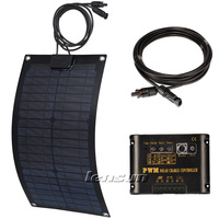 20W Fiberglass Flexible 12V Mono Solar Panel Kit, 10A Regulator/Controller,10m MC4 Cable, Complete Kit, UK STOCK,NO custom tax