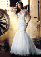 Appliqued Sweetheart Mermaid Wedding Dresses New Fashion Bridal Gown with Lace Up Back MS005