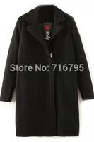 New Arrive ! Women's Coats 2014 Autumn & Winter Outwear Women Long Sleeves Demure Woolen Loose Coat