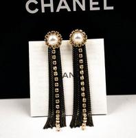 YTEH36 Brand Luxury Pearl Women Earrings Crystal Tassel Neon Lady Drop Bohemia Dangle Earring 18K Real Gold Allergy Earring