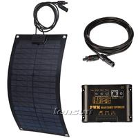 UK STOCK! 20W 12V Flexible Mono Solar Panel Fiberglass Kit, 10A Regulator/Controller,10m MC4 Cable, Complete Kit, NO custom tax
