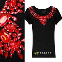 2014 summer high quality fashion necklace diamond slim o-neck short-sleeve T-shirt top