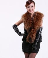 new 2014 winter High quality big collar 100% real Raccoon + Rabbit Fur vest women coat female fashion natural short clothing 992