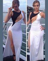 High Split Women Dress Evening Party Elegant Long Dress Sexy White Black Patchwork Maxi Dress Sexy Hollow Out Chest Vestios