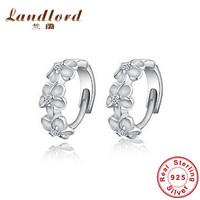 Beautiful 3 flower hoop earring for women wholesale 100% Genuine 925 sterling silver jewelry Fine jewelry High Quality YEHT-0005