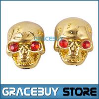 New 2 Pcs Golden Skull Head Electric Guitar Volume Tone/ Tuner Knob For Sale, Bass Metal Tuning Pot Control Knobs