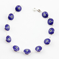 925 Sterling Silver Classic Turkish Blue Evil Eye Bracelet Italy Murano Glass Hand Made Jewelry SB003