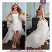 AWL3032 Sweet Strapless Beaded Organza lace-Up White Asymmetrical China Wedding Dress 2014 Custom Size Custom Color
