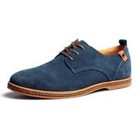 Hot Sale Men Genuine Leather Flat Shoes Vintage Suede Lacing Cow Leather Men Sneakers Plus Size 38-48 Men Casual Leather Shoes