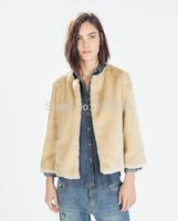 2014 new fashion Europe women winter vogue khaki thicken Fur coat  Lady casual elegant brand design outerwear #E821