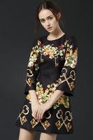 Free shipping 2014 woman new fashion silk vintage colorful print A line dress long sleeve autumn winter dress