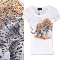 Fashion leopard print fashion tiger print rhinestones top sexy perspective women's t-shirt basic shirt