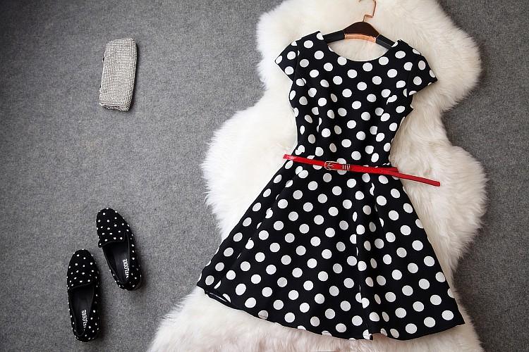 2014 New Women's Desigual Catwalk Fashion Dress Classic Round Dot Vestidos Short Sleeve Slim Luxury Evening Dresses With Belt(China (Mainland))