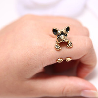 Fashionable Good Quality Lovely Animal Pet Metal Dog Alloy Finger Rings For Women Men Jewelry