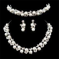 high quality hot selling handmade full CZ AAA rhinestone pearl wedding jewelry sets necklaces+earrings+headdress#N10003