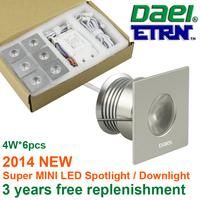 Daei ETRN Brand 2014 new Square 4W x 6pcs 24W MINI LED Downlights LED Cabinet Light LED Spot light  Free Shipping