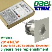 Daei ETRN Brand 2014 new Square 4W x 6pcs 24W MINI LED Downlights LED Cabinet Light LED Spot light  Free Shipping(China (Mainland))