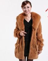 new 2014 winter High quality warm 100% Fox Fur collar + Rex Rabbit Fur coat Casual clothes women clothing female fashion 6994