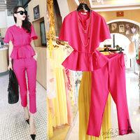Free shipping 2014 autumn new fashion women clothing set, women bat wing sleeves blouse and pants