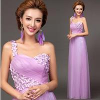 Fashionable New Purple Flower Sexy One Shoulder Long evening dress Bride bandage dress vestido de festa longo prom dresses E98