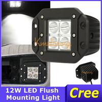 2X12W 1200lm 4WD Truck Mini Square Driving Light for off-road Car 12V/24V 4x4 Spot Beam Cree LED Work Light for Jeep Flush Mount